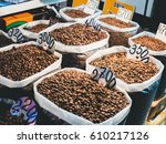 different fresh roasted whole... | Shutterstock . vector #610217126
