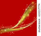golden luxury wave layout... | Shutterstock .eps vector #610217774