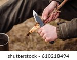 close up hand hunter man with... | Shutterstock . vector #610218494