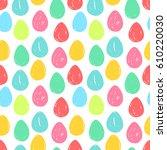 easter eggs. seamless... | Shutterstock .eps vector #610220030