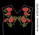 embroidery stitches with red... | Shutterstock .eps vector #610226330