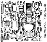 bottles hand draw. stylized...   Shutterstock .eps vector #610226930