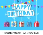 happy birthday greeting card... | Shutterstock .eps vector #610229168