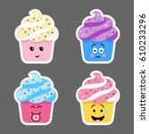 set of cupcake emojis icons....   Shutterstock .eps vector #610233296