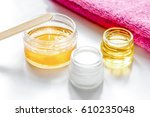 wax for depilation on white... | Shutterstock . vector #610235048