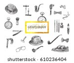 victorian era collection ... | Shutterstock .eps vector #610236404