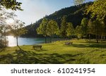 resting place with benches at... | Shutterstock . vector #610241954