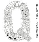 letter q for coloring. vector... | Shutterstock .eps vector #610242428