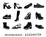 shoes set of vector flat icons. ...   Shutterstock .eps vector #610244759