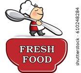 little cartoon cook in apron... | Shutterstock .eps vector #610248284
