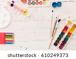 top view on colorful paints and ... | Shutterstock . vector #610249373