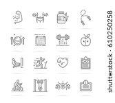 bodybuilding vector line icons  ... | Shutterstock .eps vector #610250258