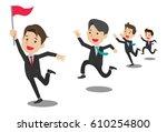 business people group run team. ... | Shutterstock .eps vector #610254800
