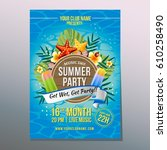 happy summer party with ice... | Shutterstock .eps vector #610258490
