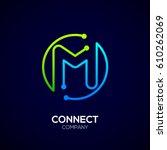 letter m logo  circle shape...   Shutterstock .eps vector #610262069