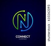 Letter N Logo  Circle Shape...
