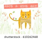 cute tiger with birds and... | Shutterstock .eps vector #610262468