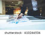 business woman hand pointing ... | Shutterstock . vector #610266536