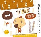 cute postcard  card  background ...   Shutterstock .eps vector #610267889