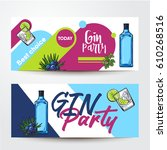 banners with gin bottle ... | Shutterstock .eps vector #610268516