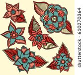 zentangle abstract flowers.... | Shutterstock .eps vector #610270364