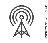 transmiter thin line vector... | Shutterstock .eps vector #610271984