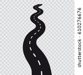 Curved Long Road With White...