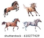 Stock photo watercolor painting of galloping horse free running mustang aquarelle 610277429