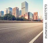 empty asphalt road of a modern...   Shutterstock . vector #610277573