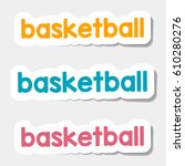 logos and lettering on a light... | Shutterstock . vector #610280276