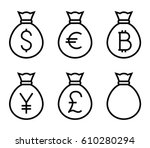 bags with money thin line... | Shutterstock .eps vector #610280294
