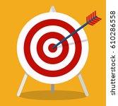 vector flat icon. arrow hitting ... | Shutterstock .eps vector #610286558
