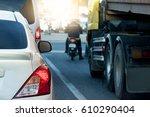 car traffic jam on the road on... | Shutterstock . vector #610290404