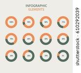 infographic elements in green... | Shutterstock .eps vector #610292039