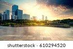 empty brick road nearby office... | Shutterstock . vector #610294520