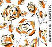 gold roses flowers set... | Shutterstock .eps vector #610295510