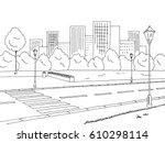 street road graphic black white ... | Shutterstock .eps vector #610298114