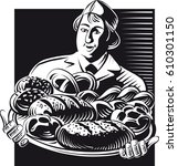 baker holds out a tray with... | Shutterstock .eps vector #610301150