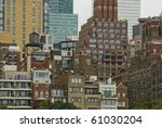A view of the different styles of architecture in New York City. - stock photo