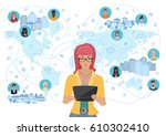 young woman holding a tablet... | Shutterstock .eps vector #610302410
