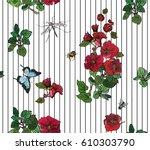 vector seamless pattern hand... | Shutterstock .eps vector #610303790