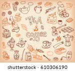 big vector collection of doodle ... | Shutterstock .eps vector #610306190