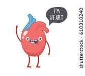 vector cute smiling heart ... | Shutterstock .eps vector #610310240