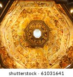 Indoor interior of cathedral Duomo on  Miracoli Square of Miracles in Pisa, Italy - stock photo