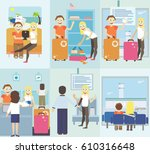 set tourism with fast travel of ... | Shutterstock .eps vector #610316648
