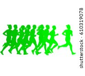 set of silhouettes. runners on... | Shutterstock .eps vector #610319078