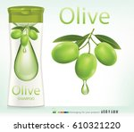 green olives with leaves.vector ... | Shutterstock .eps vector #610321220