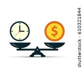 time is money on scales icon.... | Shutterstock .eps vector #610321844