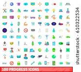 100 progress icons set in... | Shutterstock .eps vector #610322534