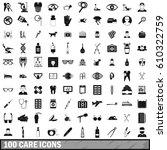 100 care icons set in simple... | Shutterstock .eps vector #610322759